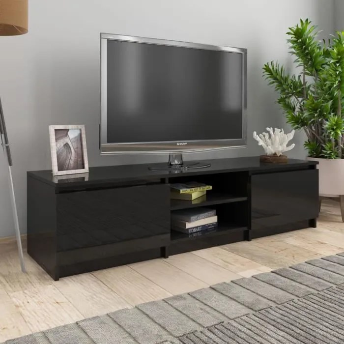 meuble tv contemporain decor armoire tele table television noir brillant 140x40x35 5 cm agglomere