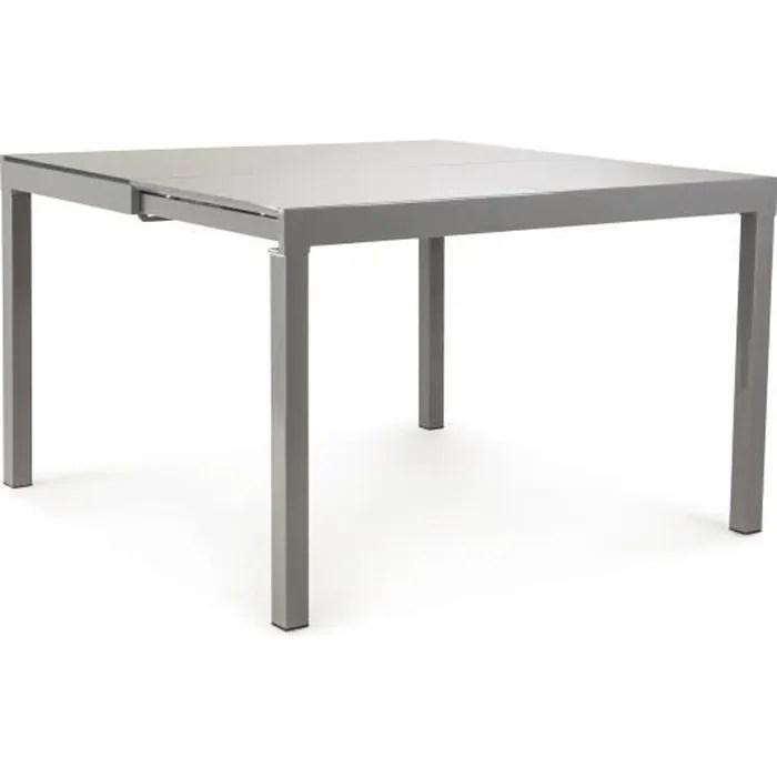 gabrielle console extensible en table carree avec plateau verre trempe gris