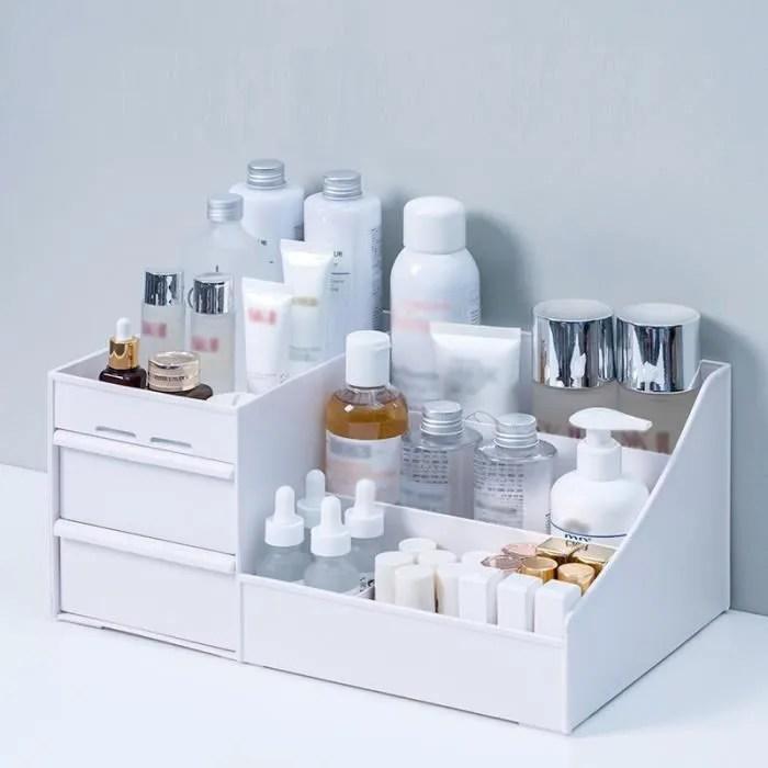 grande capacite cosmetique boite de rangement maquillage tiroir organisateur bijoux vernis a ongles type white 28x17x13cm c