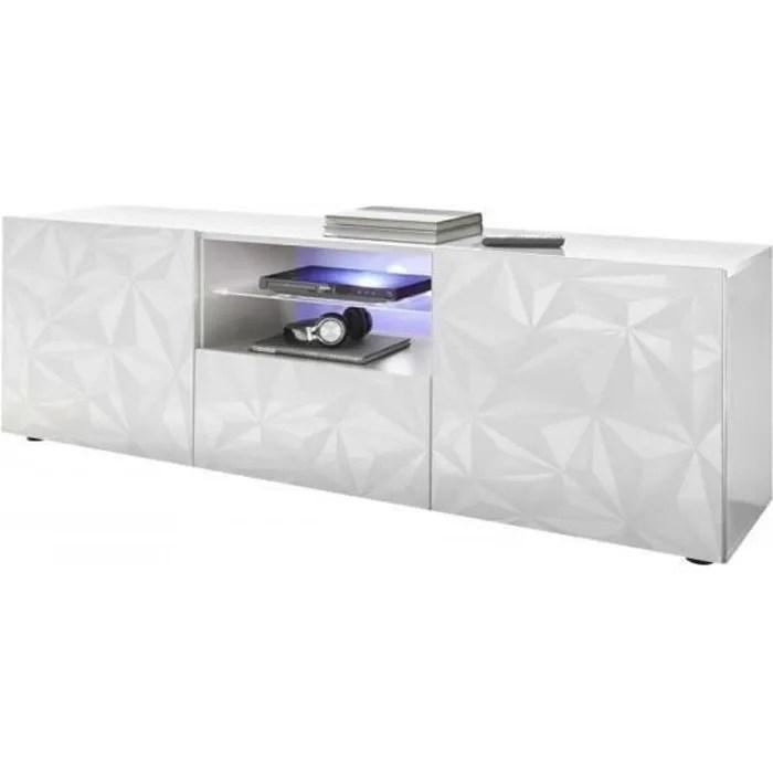meuble tv blanc laque brillant l 181 x p 43 x