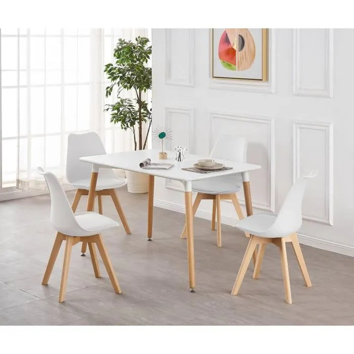 ensemble table de salle a manger complet table blanche 4 chaises blanches design scandinave cuisine salon bureau