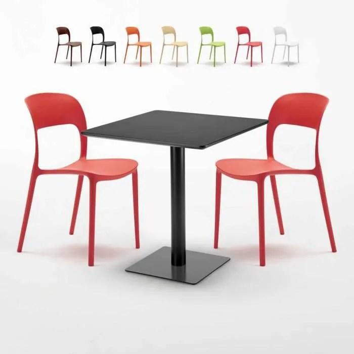table carree noire 70x70 avec 2 chaises colorees restaurant kiwi couleur rouge