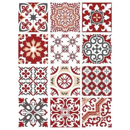 planche de 12 stickers carreaux de ciment redmonky adhesif pour carrelage dimensions 10 x 10 cm