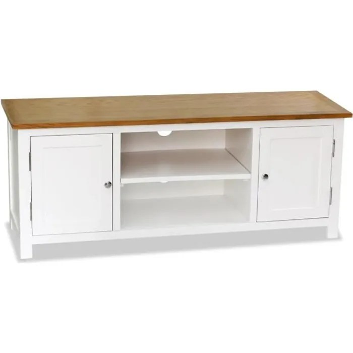 meuble tv moderne bois de chene massif decor b