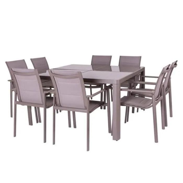 ensemble table carree chaises aluminium flores l 140 x l 140 x h 75
