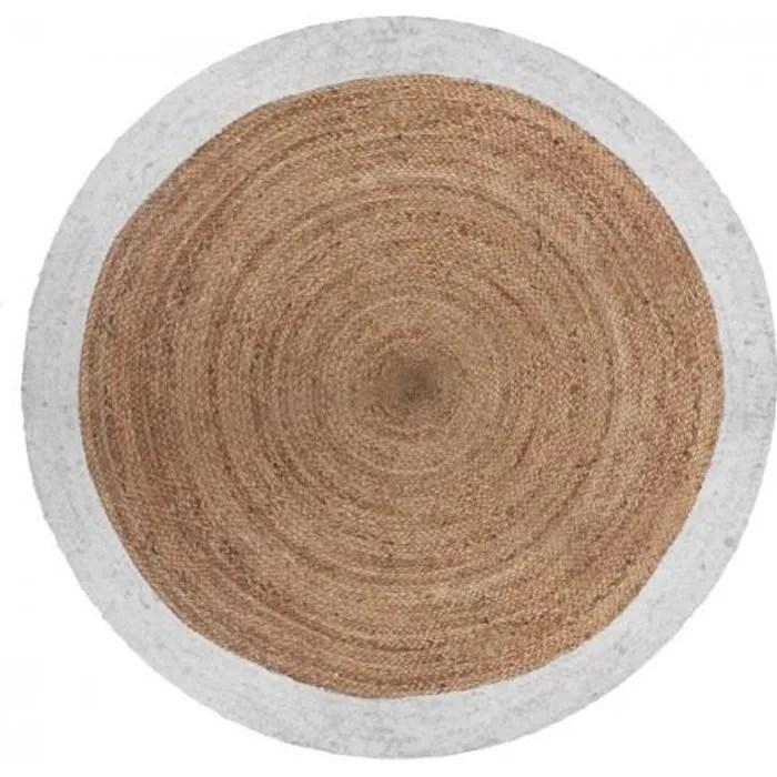 tapis rond bord blanc jute vegetale o 120 cm