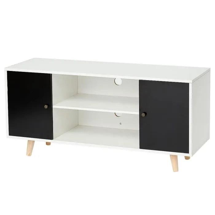 meuble tv scandinave pieds en bois noir