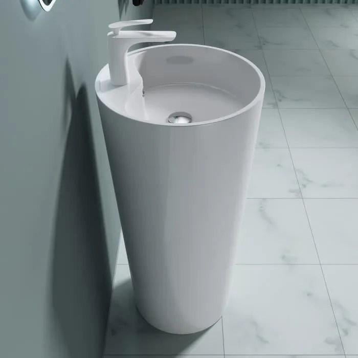 lavabo colonne rond blanc vasque sur