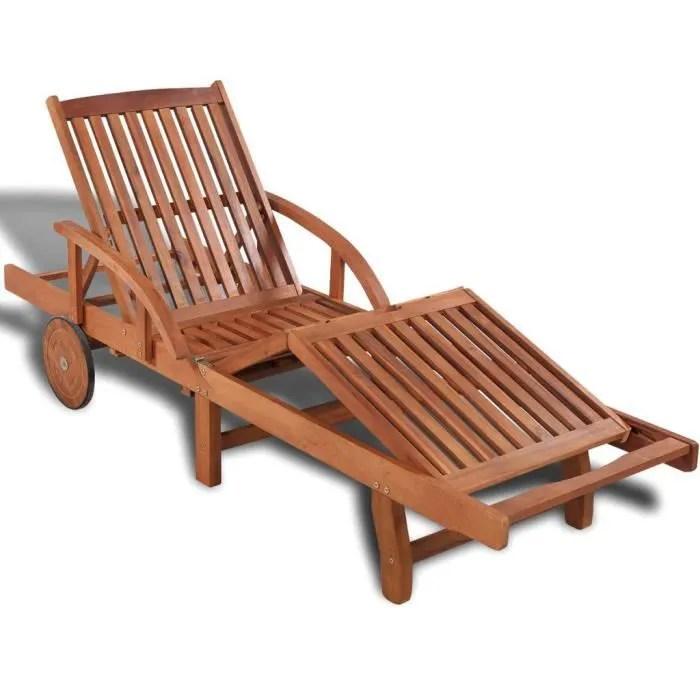 chaise longue de jardin fauteuil de jardin bain de soleil transat chaise camping bois d acacia massif 200 x 68 x 83 cm