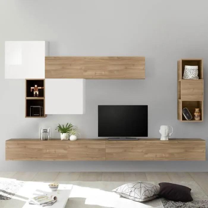 meuble tv complet blanc et couleur chene rovigo marron l 275 x p 30 x h 200 cm