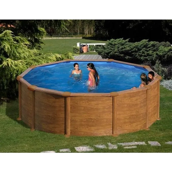 gre piscine hors sol acier ronde aspect bois o4