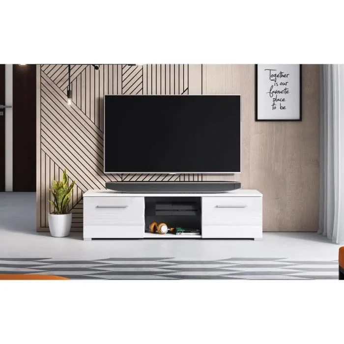 decoro meuble tv design magnum 140 cm couleur bl