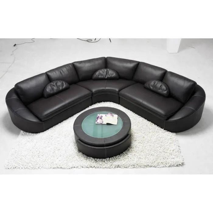 canape d angle en cuir noir arrondi