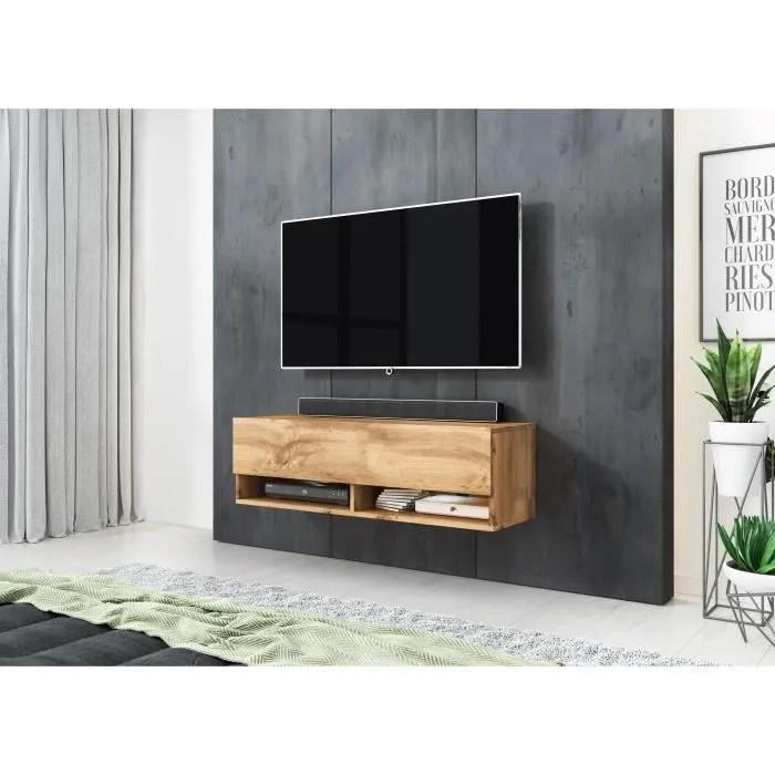 furnix meuble tv meuble de salon alex 100 cm chene wotan sans led style industriel