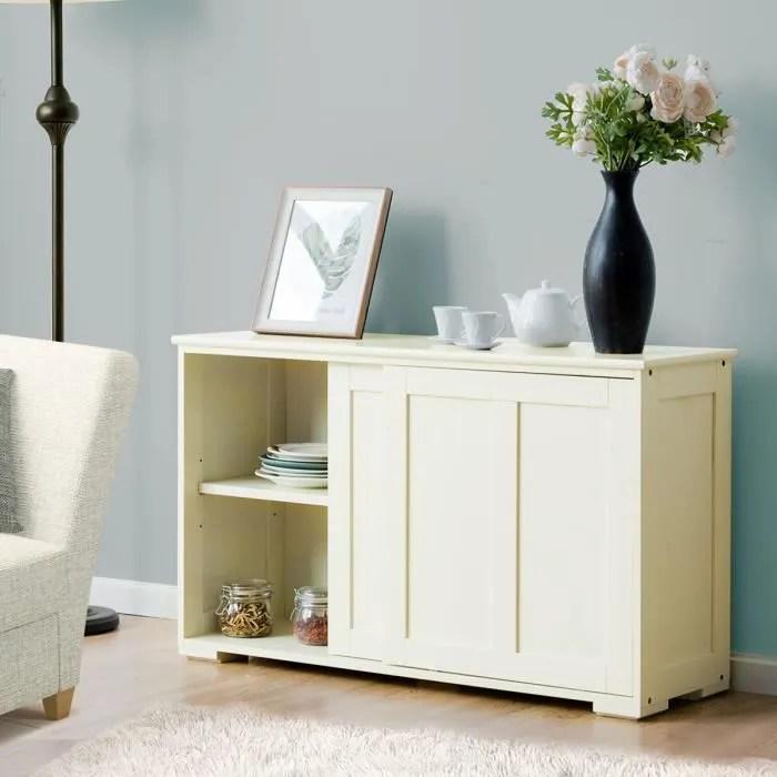 buffet commode bas vaisselier avec porte coulissante meuble de rangement avec 2 etageres en mdf 106 7 x 33 x 62 5 cm beige