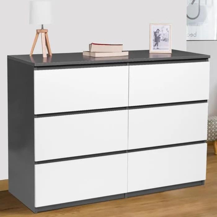commode 6 tiroirs bois blanc et gris tomi