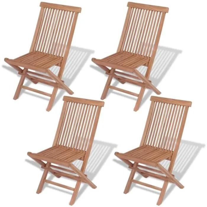 chaise pliante d exterieur 4 pieces teck massif