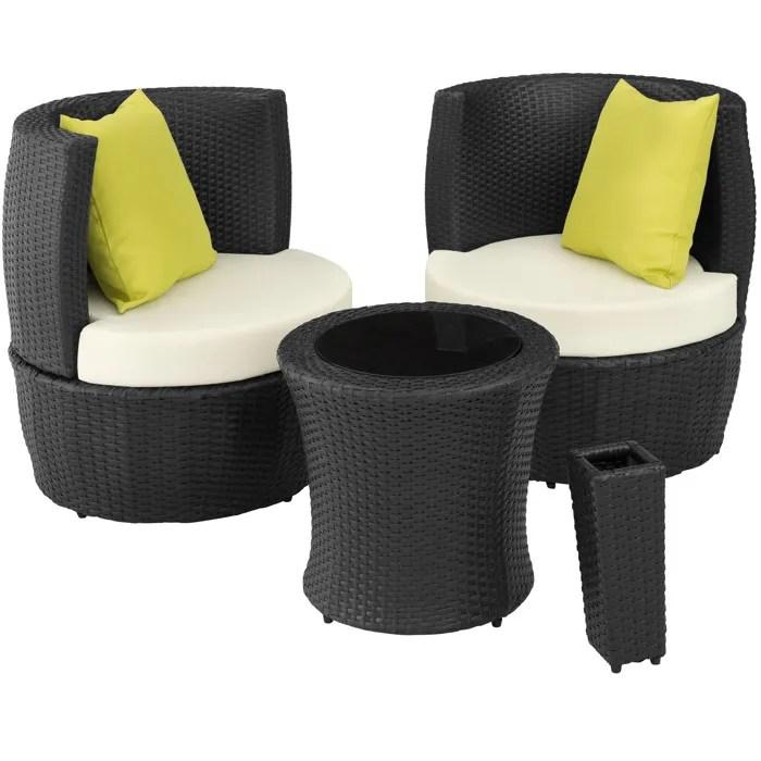 tectake salon de jardin nice encastrable 2 personnes en resine tressee cadre en aluminium 2 fauteuils 1 table 1 pot de fleurs noir
