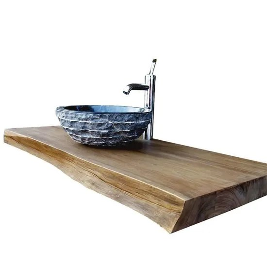 plan de travail de salle de bain en teck massif