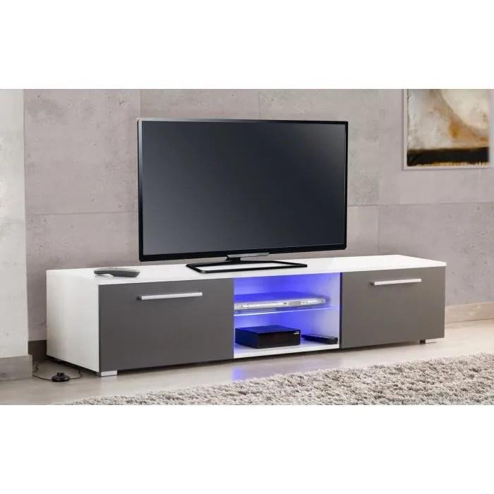 meuble tv led blanc gris usaha