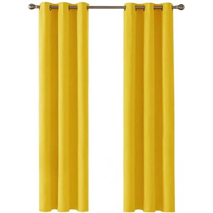 rideau thermique jaune moutarde