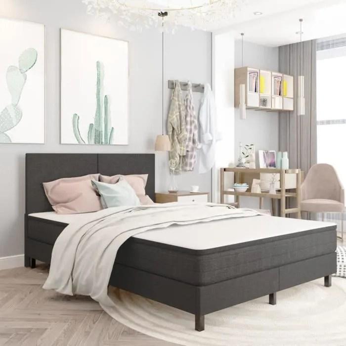 magnifique cadre de lit structure de lit adulte chambre lit 2 places gris tissu 140 x 200 cm