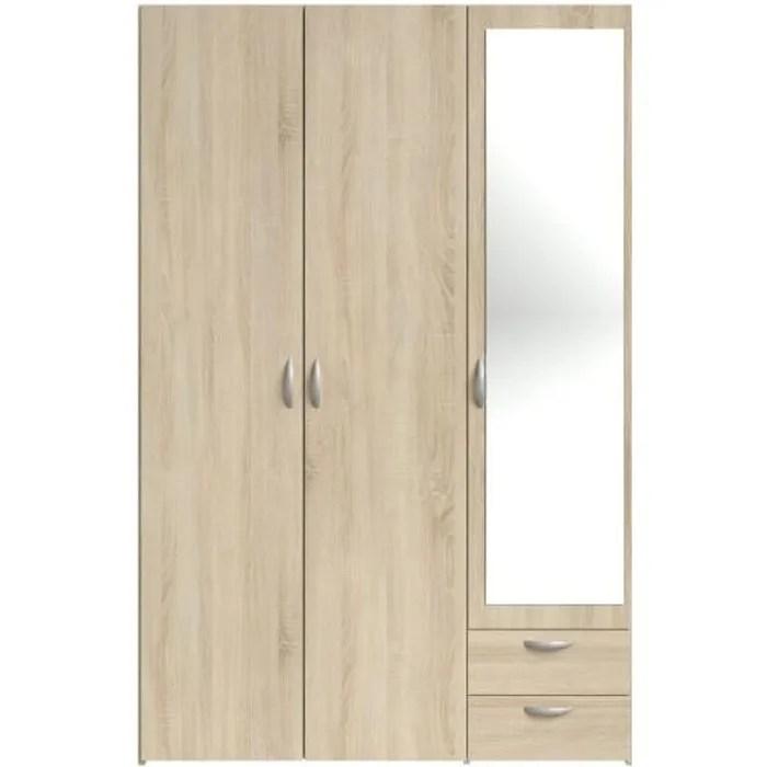 varia armoire 3 portes miroir decor chene l 120 x p 51 x h 185 cm