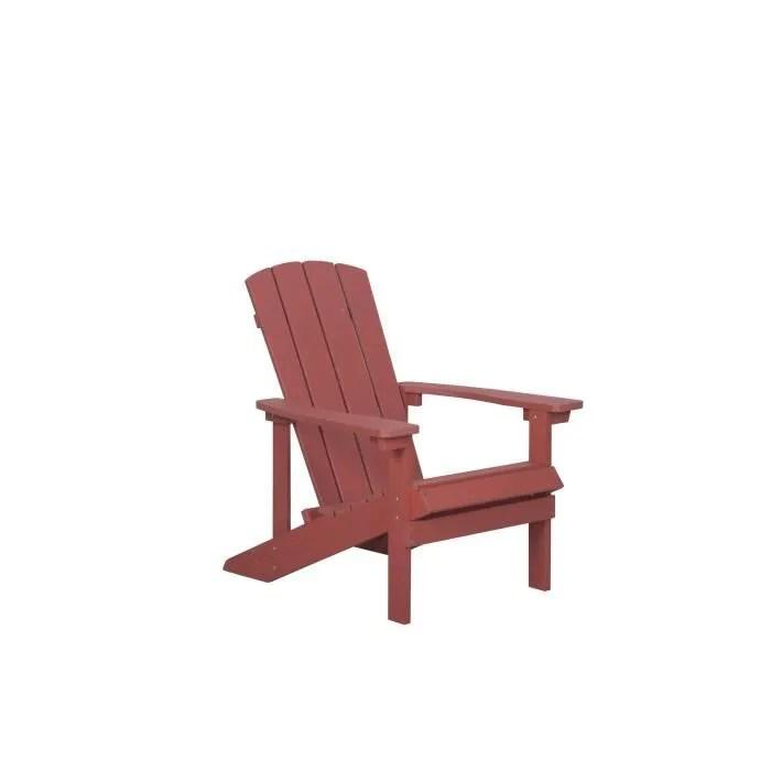 beliani fauteuil bas de jardin rouge adirondack