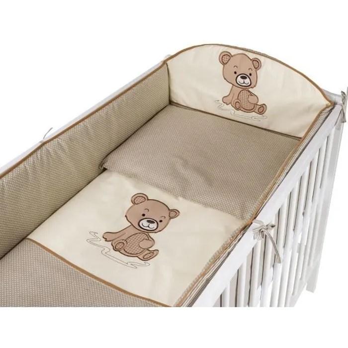 tomi parure pour lit bebe 60x120 cm ourson beige housse de couette taie d oreiller tour de lit