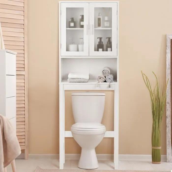 costway meuble dessus toilette colonne de salle de bain rangement wc avec 2 portes etagere de salle de bain armoire de toilettes