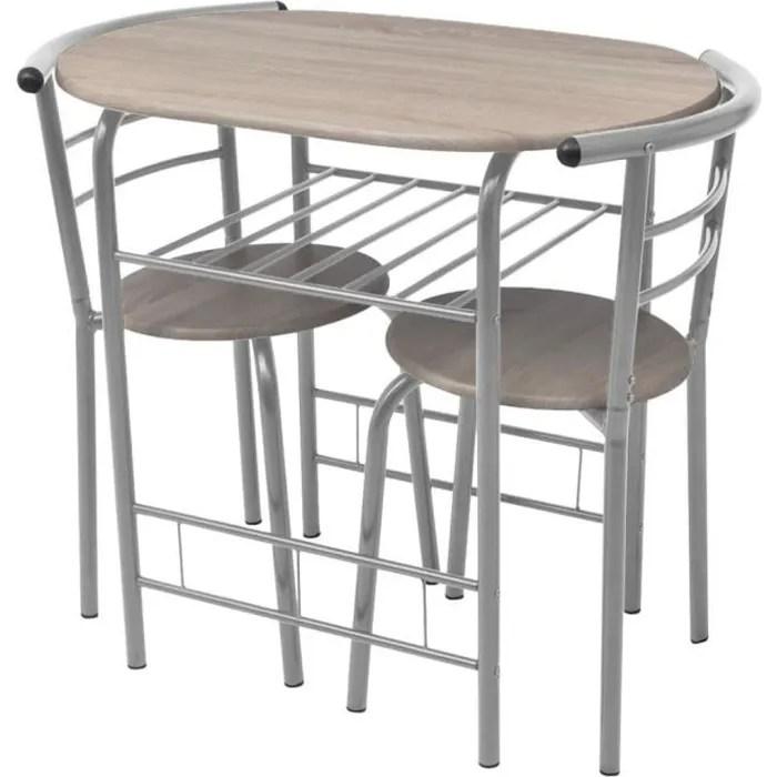 ensemble table a manger 2 personnes 2 chaises mdf style industriel 80 x 53 x 74 cm