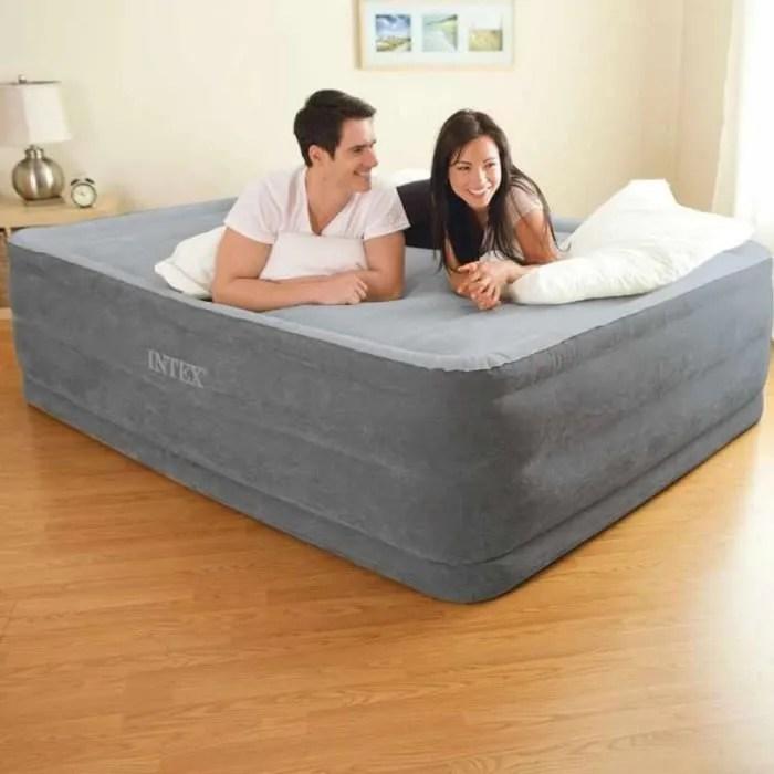 lit matelas gonflable epaisseur 46cm 2 personnes gonfleur integre haut gamme qualite solide autogonflant appoint 2places confort bed