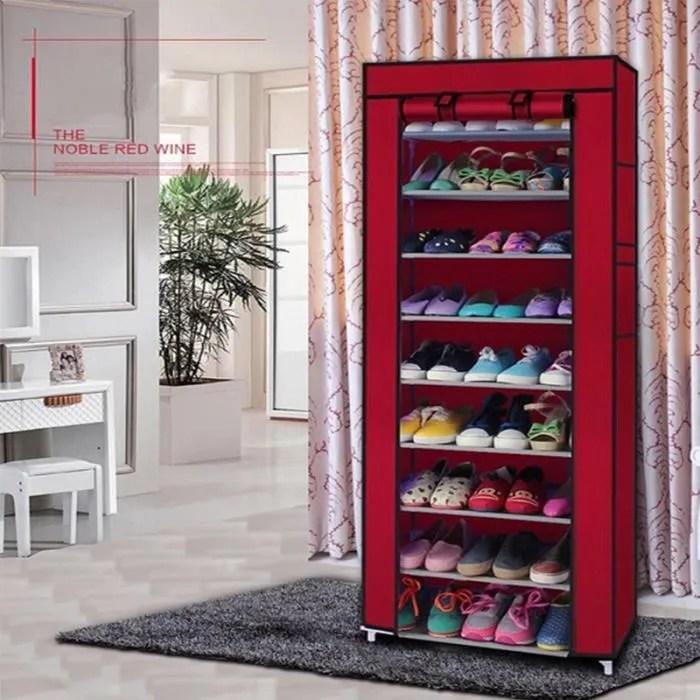 9 niveaux armoire a chaussure meuble a chaussure rangement chaussure chaussures stockage avec housse rouge 60cm x 30cm x 160cm