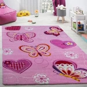 tapis papillon rose