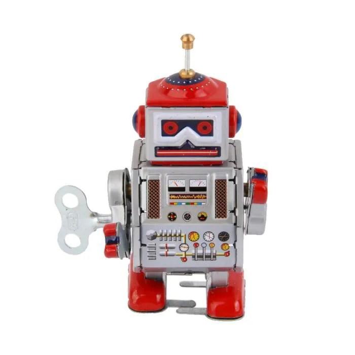 jouet mecanique robot ancien metal wind up