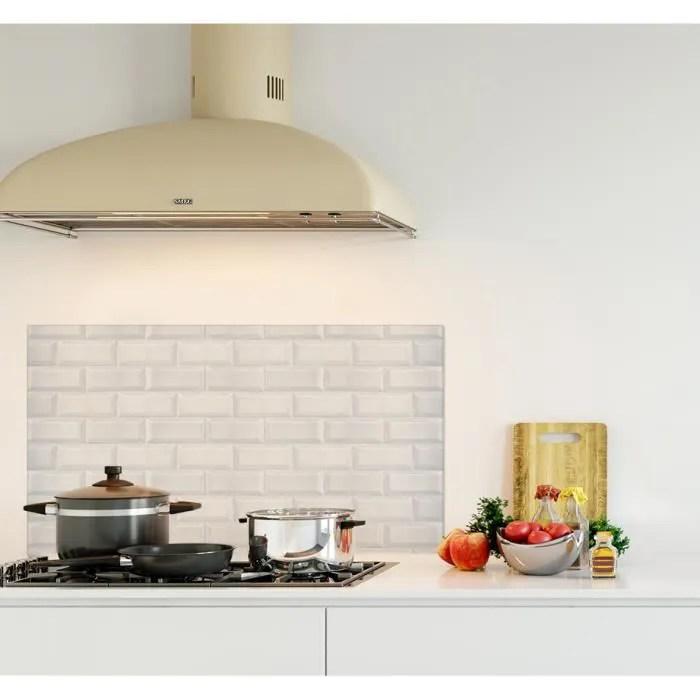 credence de cuisine adhesive en panneau composite aluminium carreaux de metro l 90 x h 50 cm