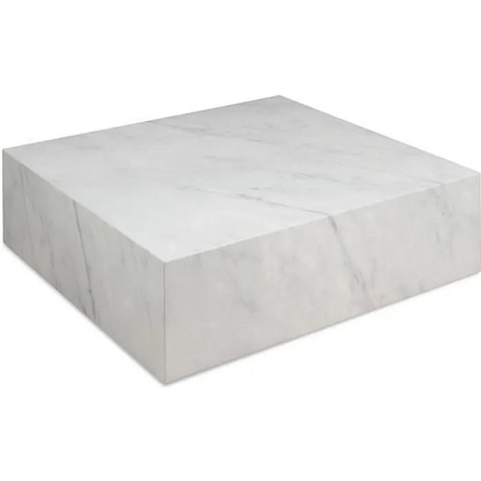 table basse cube 90 x 90 x 28 cm marbre couleu