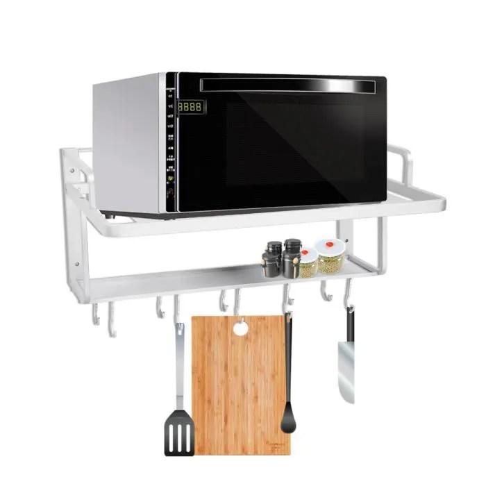 support de four de micro onde etagere de rangement de cuisine organisateur pendaison doubles couches aluminium le bonbon