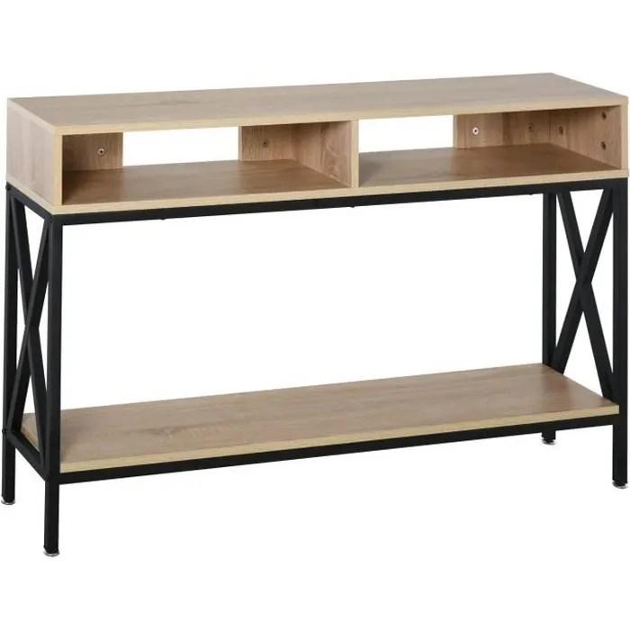 table console table d entree industriel multi rangements 120 x 23 5 x 75 cm bois chene 120x23x75cm beige