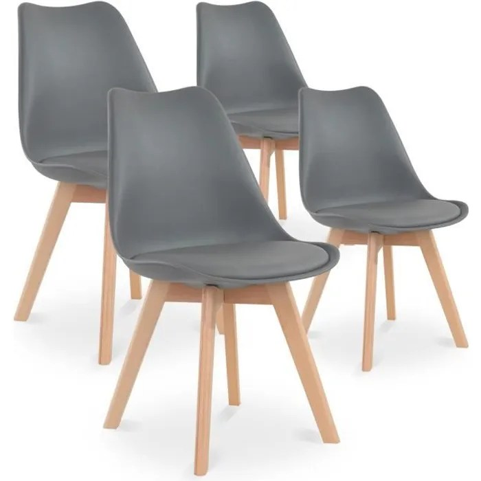 lot de 4 chaises style scandinave catherina gris
