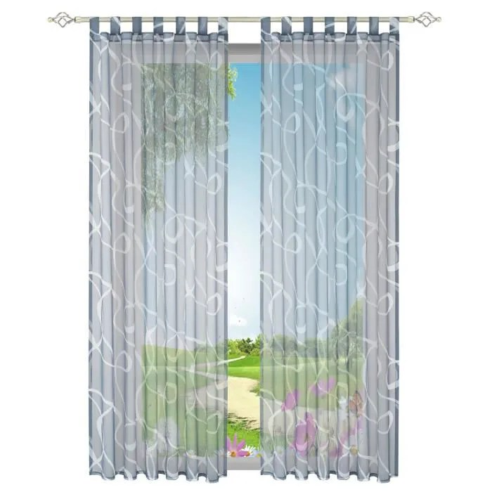 1 piece rideau voilage teinte couleur gris lxh 140