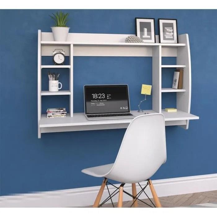 table murale bureau avec etagere integree armoire de rangement murale blanc