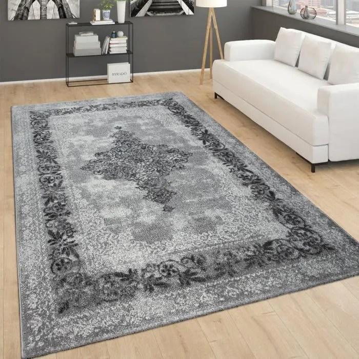 tapis vintage pour salon poils ras design oriental chine gris 60x100 cm