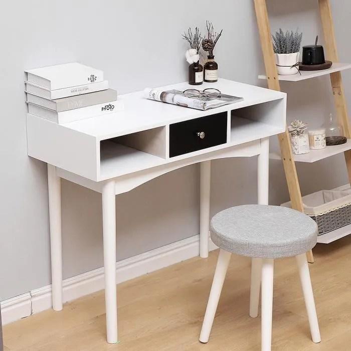 table de bureau informatique secretaire table plan de travail avec 1 tiroirs 2 niche ouverte style nordique