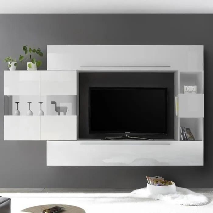 ensemble meuble tv design blanc laque alcamo blanc