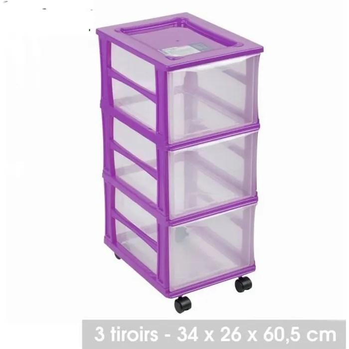 meuble 3 tiroirs box casier rangement caisse plast