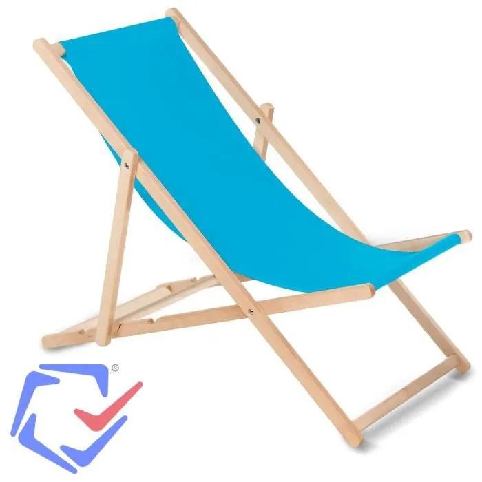 greenblue fauteuil de plage pliant en hetre bleu c
