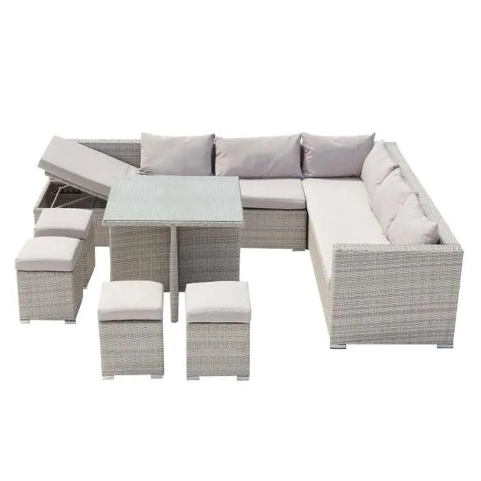 fidji gris blanc salon de jardin encastrable en resine tressee 10 personnes