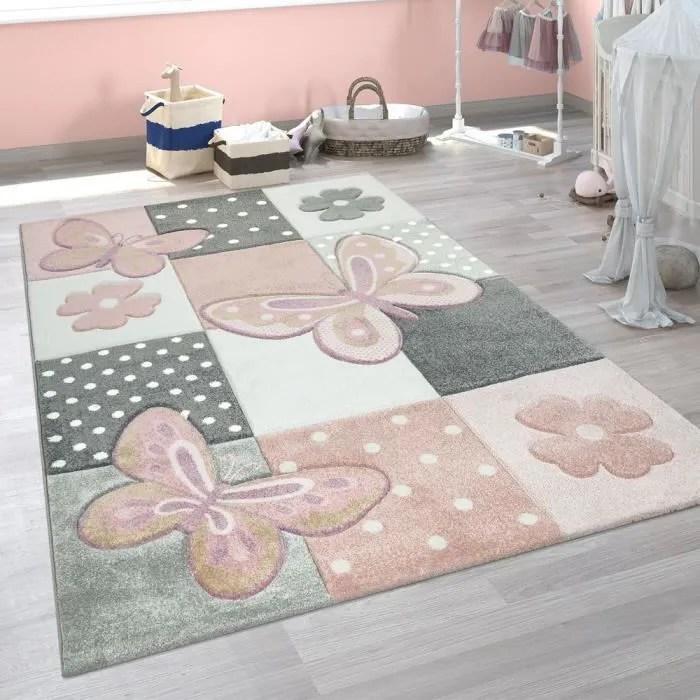 tapis chambre enfant couleurs pastel papillon moti