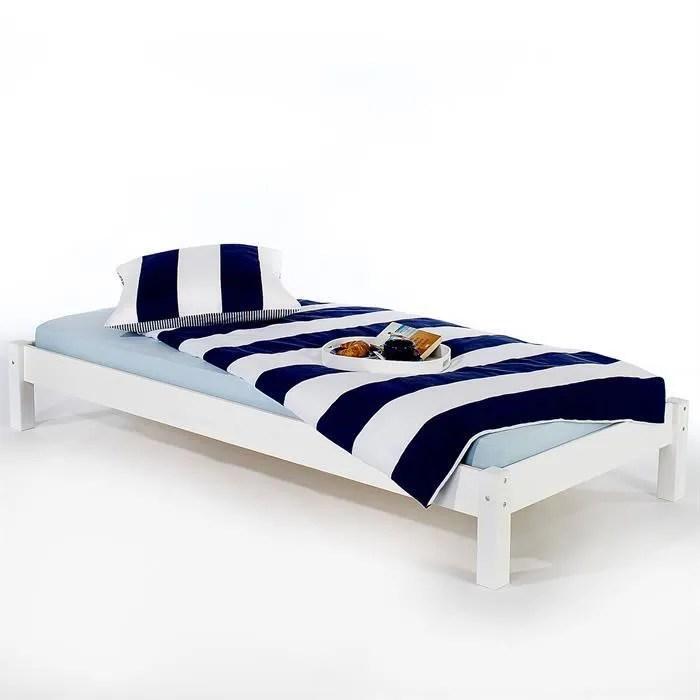 lit futon simple pour adulte taifun 90 x 200 cm 1 personne 1 place pin massif lasure blanc